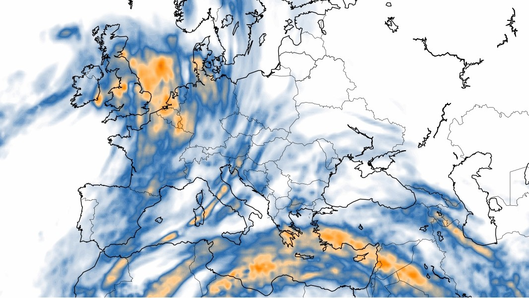 europe turbulence map at 300 mb