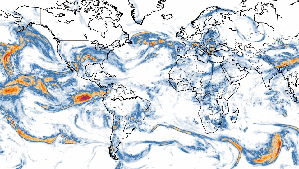 world turbulence map at 300 mb